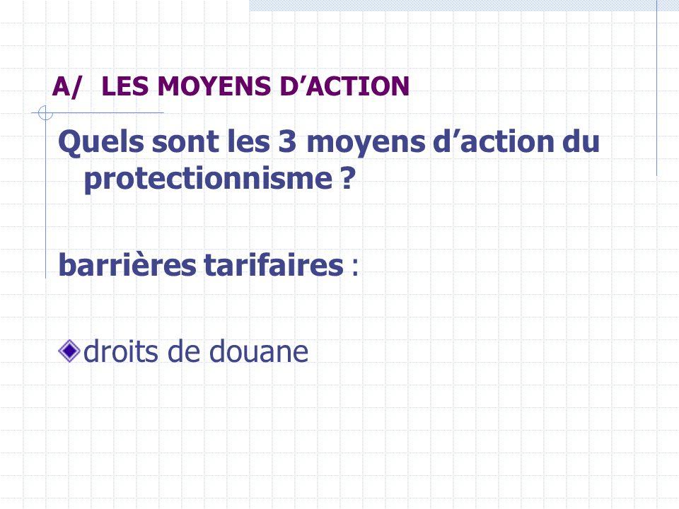 Quels sont les 3 moyens d'action du protectionnisme