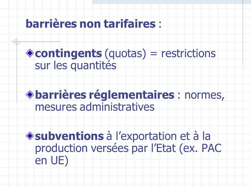 barrières non tarifaires :