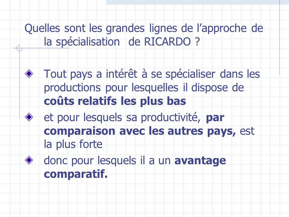 Quelles sont les grandes lignes de l'approche de la spécialisation de RICARDO