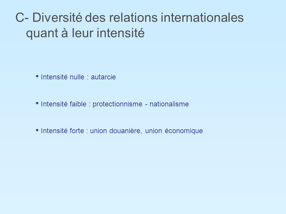 C- Diversité des relations internationales quant à leur intensité