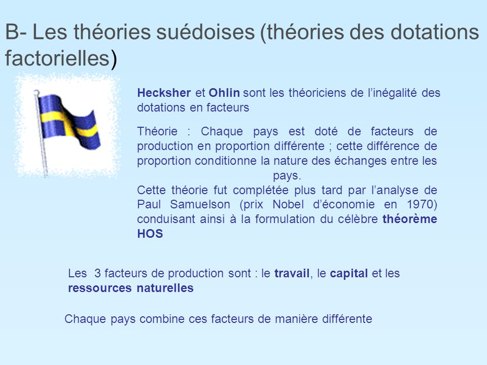B- Les théories suédoises (théories des dotations factorielles)