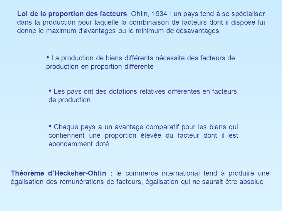 Loi de la proportion des facteurs, Ohlin, 1934 : un pays tend à se spécialiser dans la production pour laquelle la combinaison de facteurs dont il dispose lui donne le maximum d'avantages ou le minimum de désavantages