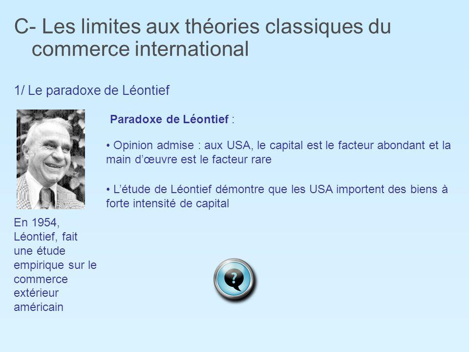 C- Les limites aux théories classiques du commerce international