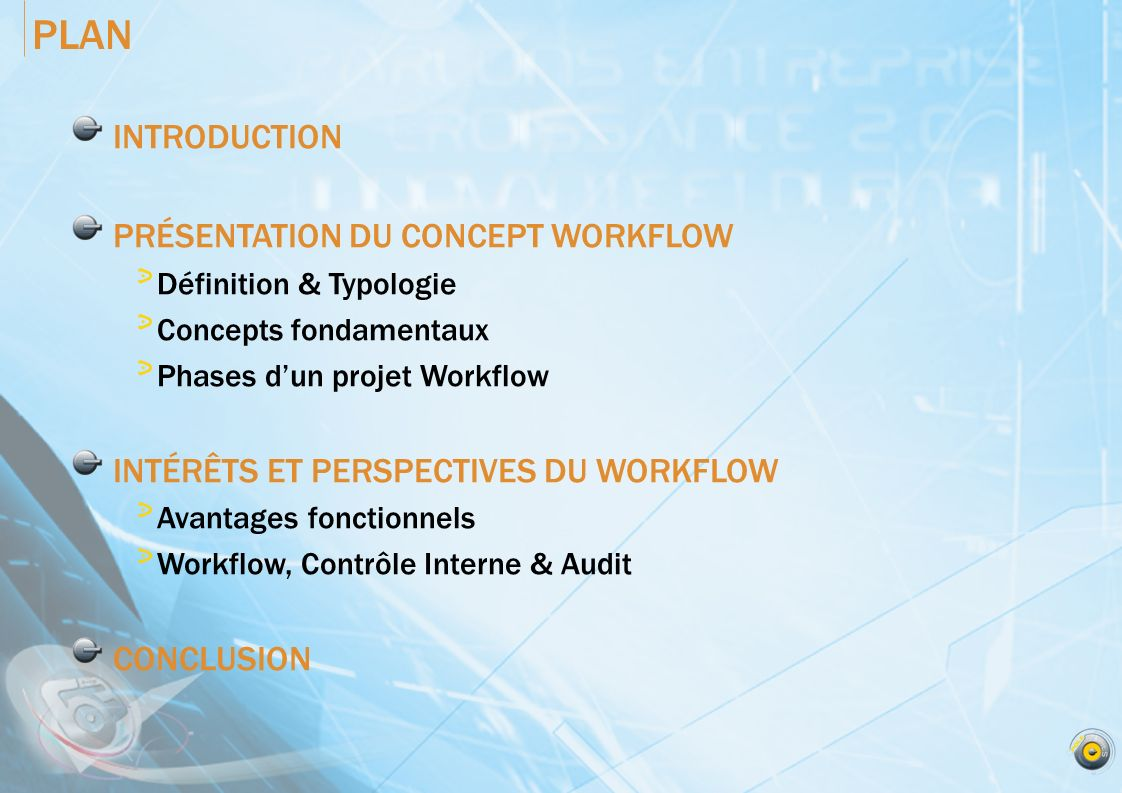 PLAN INTRODUCTION PRÉSENTATION DU CONCEPT WORKFLOW