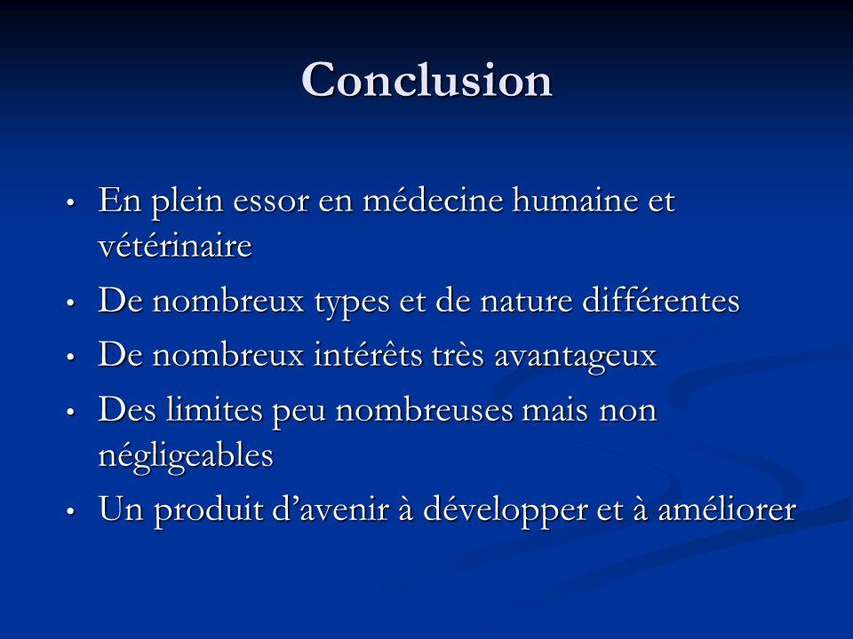 Conclusion En plein essor en médecine humaine et vétérinaire