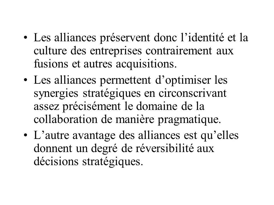 Les alliances préservent donc l'identité et la culture des entreprises contrairement aux fusions et autres acquisitions.