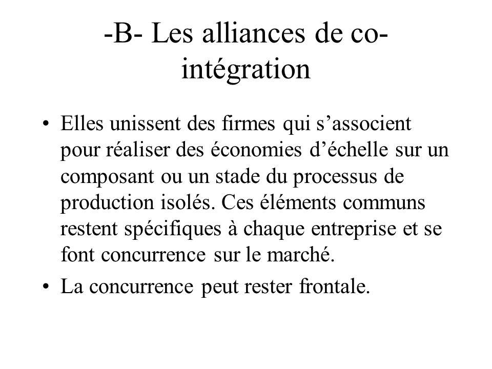 -B- Les alliances de co-intégration