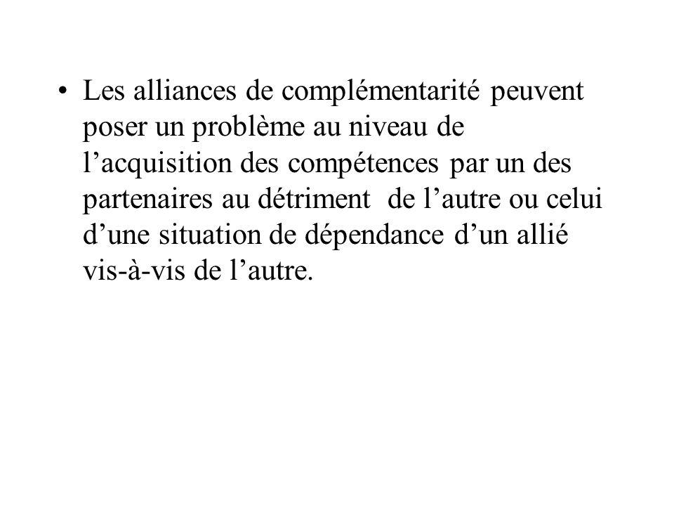 Les alliances de complémentarité peuvent poser un problème au niveau de l'acquisition des compétences par un des partenaires au détriment de l'autre ou celui d'une situation de dépendance d'un allié vis-à-vis de l'autre.