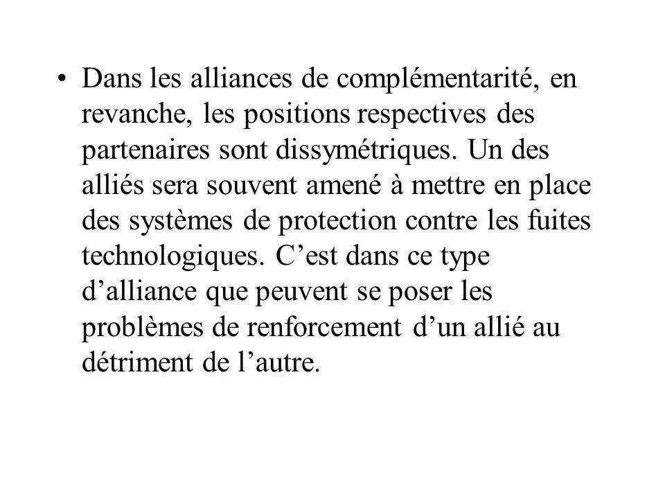Dans les alliances de complémentarité, en revanche, les positions respectives des partenaires sont dissymétriques.