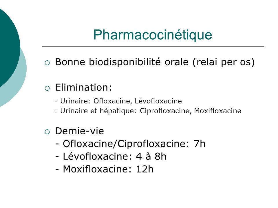 Pharmacocinétique Bonne biodisponibilité orale (relai per os)