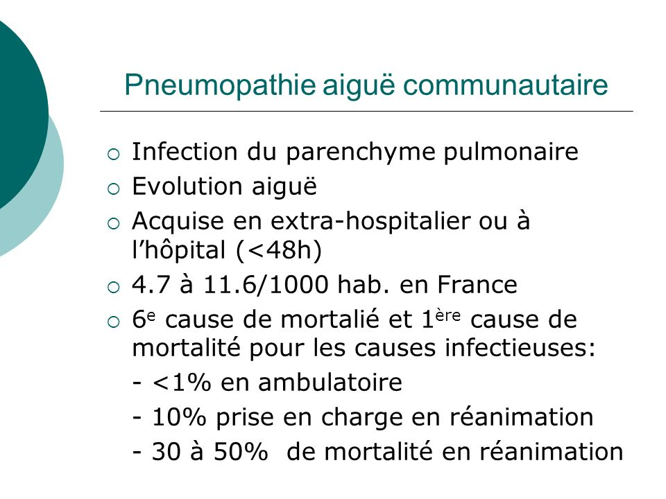 Pneumopathie aiguë communautaire