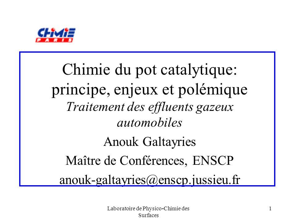 Chimie du pot catalytique: principe, enjeux et polémique Traitement des effluents gazeux automobiles