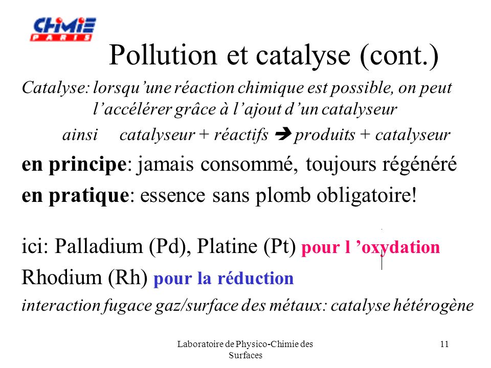 Pollution et catalyse (cont.)