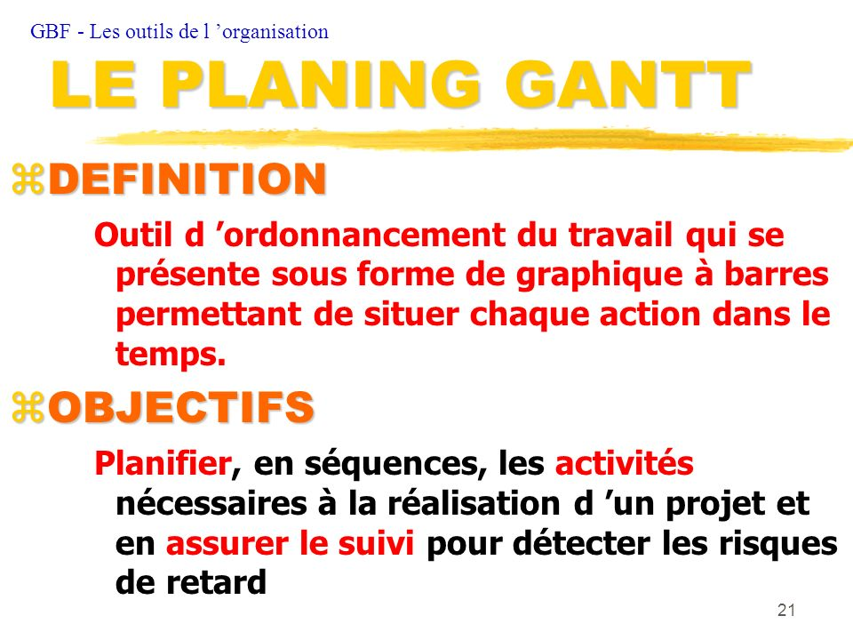 LE PLANING GANTT DEFINITION OBJECTIFS