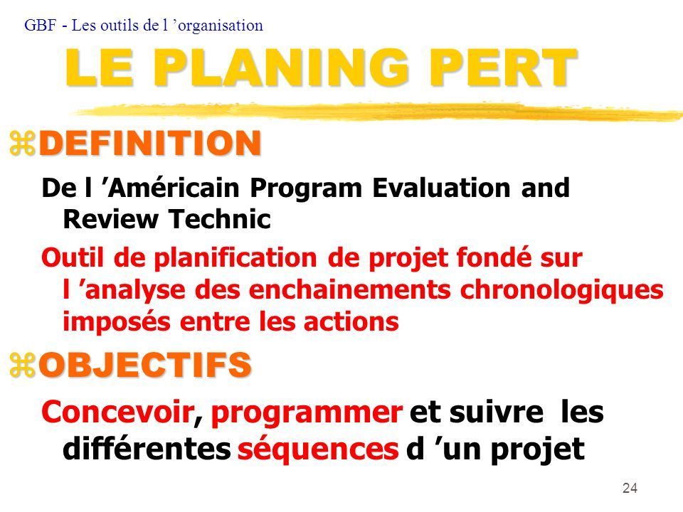 LE PLANING PERT DEFINITION OBJECTIFS