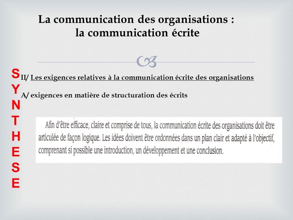 La communication des organisations : la communication écrite