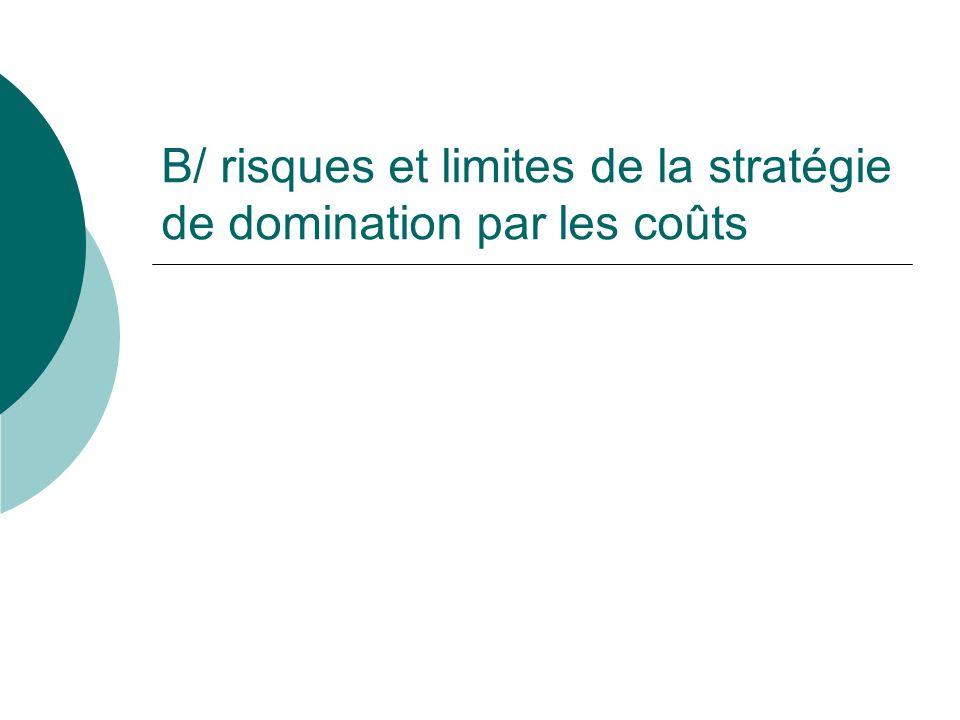 B/ risques et limites de la stratégie de domination par les coûts