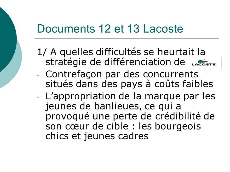 Documents 12 et 13 Lacoste 1/ A quelles difficultés se heurtait la stratégie de différenciation de.