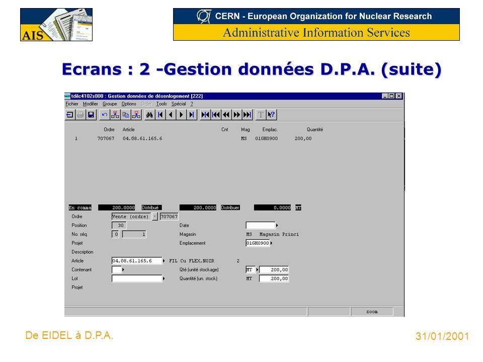 Ecrans : 2 -Gestion données D.P.A. (suite)