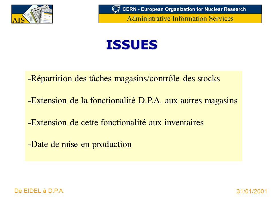 ISSUES -Répartition des tâches magasins/contrôle des stocks