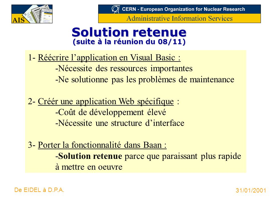 Solution retenue (suite à la réunion du 08/11)