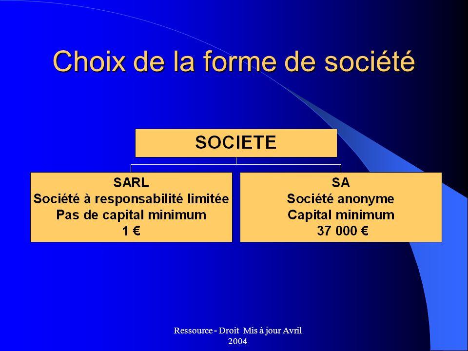 Choix de la forme de société