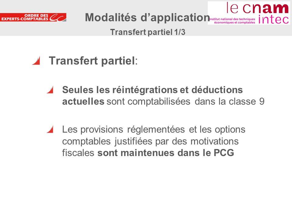 Modalités d'application Transfert partiel 1/3