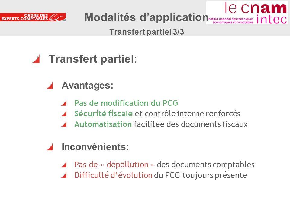 Modalités d'application Transfert partiel 3/3