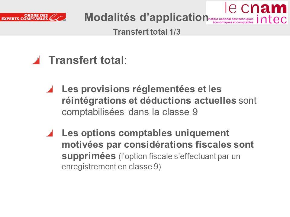 Modalités d'application Transfert total 1/3