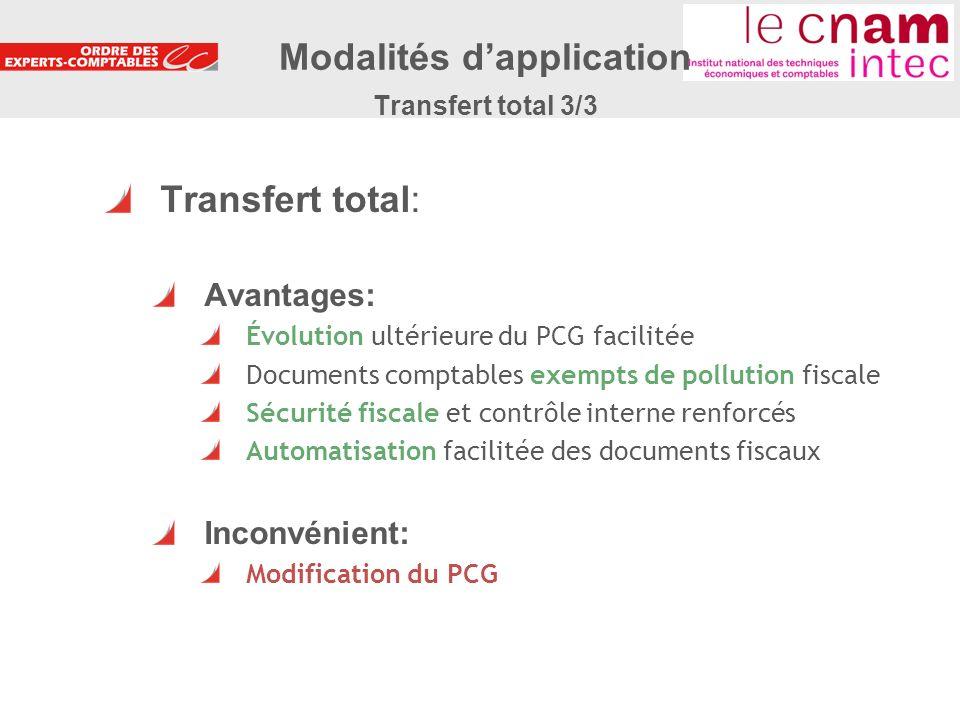 Modalités d'application Transfert total 3/3