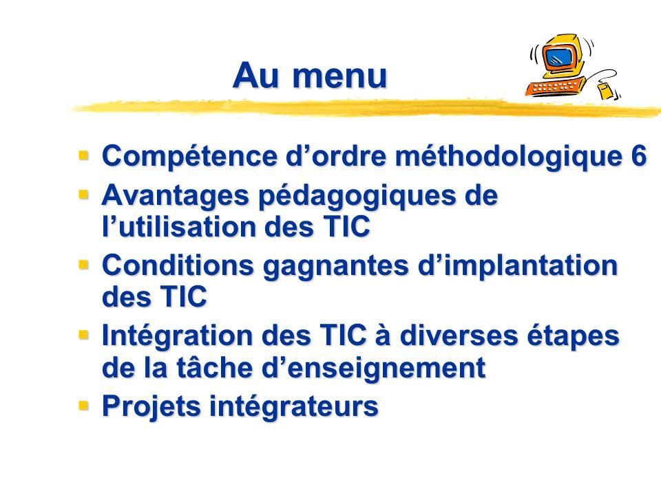 Au menu Compétence d'ordre méthodologique 6