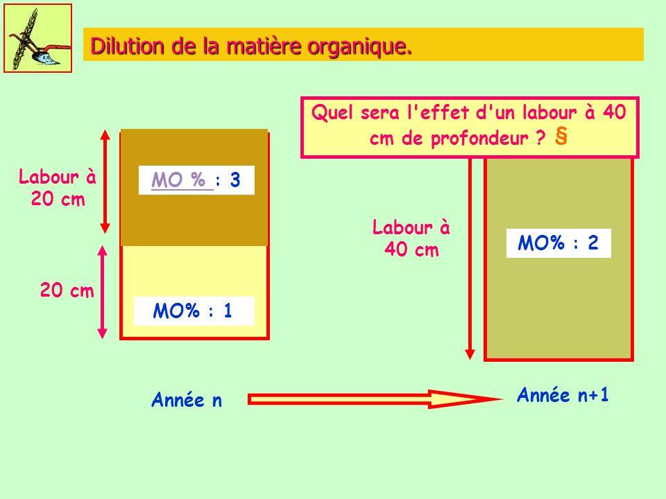 Dilution de la matière organique.