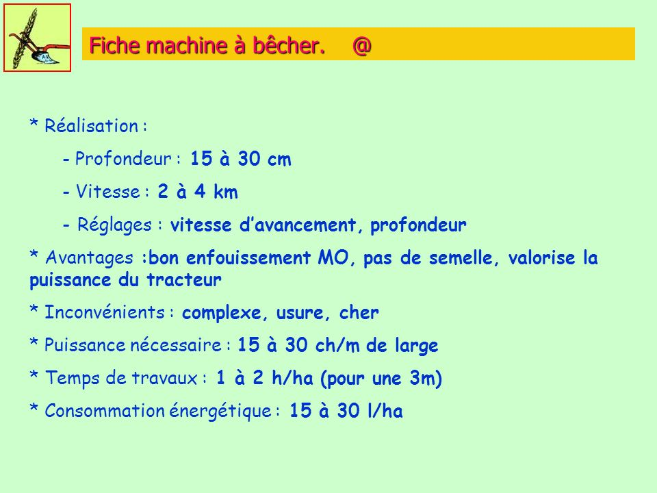 Fiche machine à bêcher. @