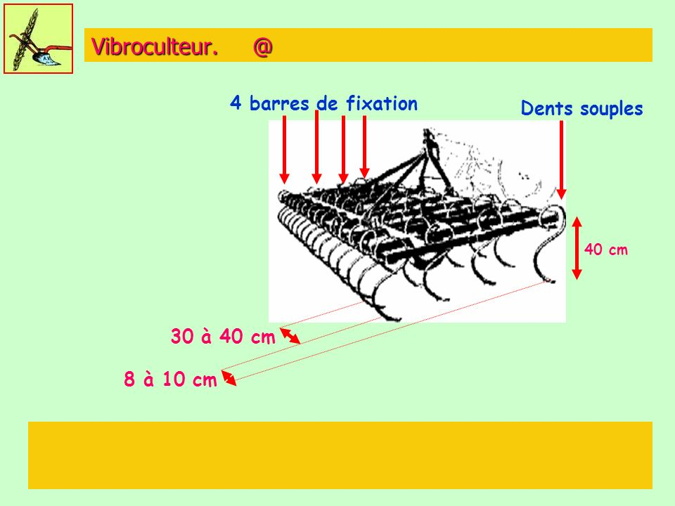 Vibroculteur. @ 4 barres de fixation Dents souples 30 à 40 cm