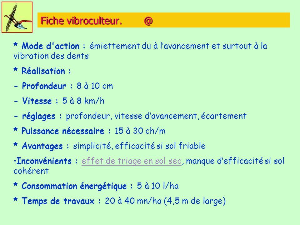 Fiche vibroculteur. @ * Mode d action : émiettement du à l'avancement et surtout à la vibration des dents.