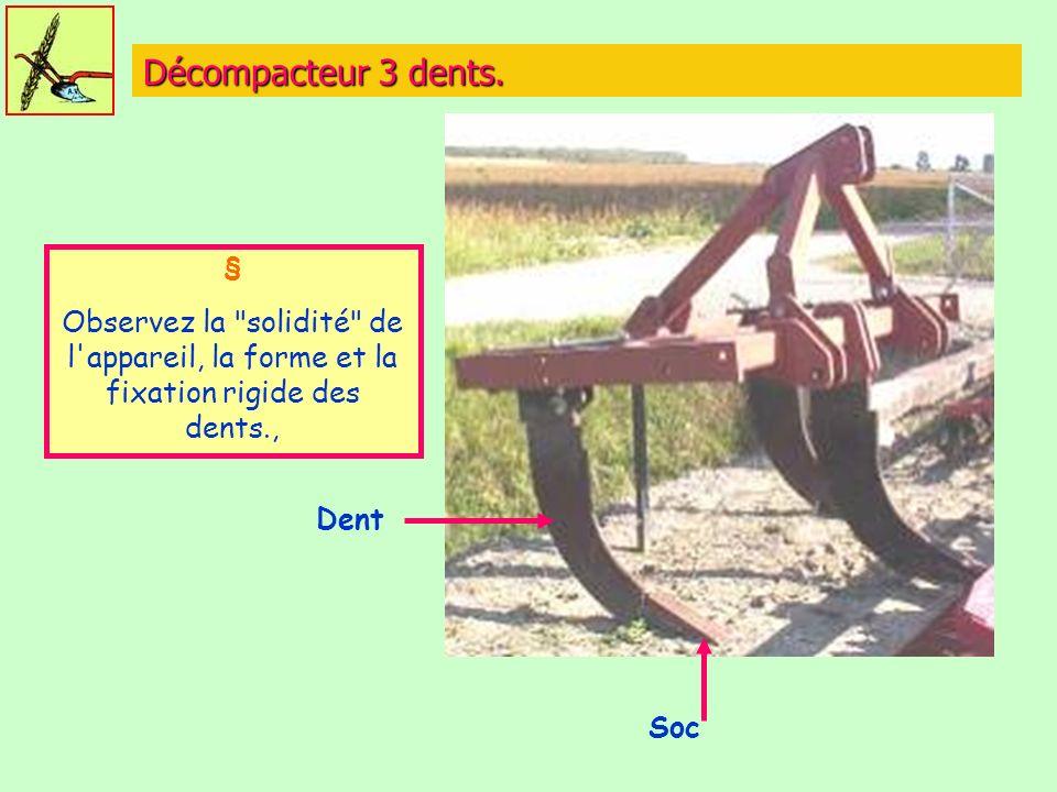 Décompacteur 3 dents. § Observez la solidité de l appareil, la forme et la fixation rigide des dents.,