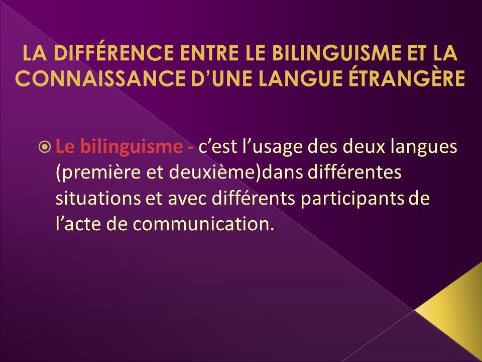 LA DIFFÉRENCE ENTRE LE BILINGUISME ET LA CONNAISSANCE D'UNE LANGUE ÉTRANGÈRE