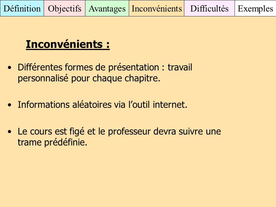 Inconvénients : Différentes formes de présentation : travail personnalisé pour chaque chapitre. Informations aléatoires via l'outil internet.