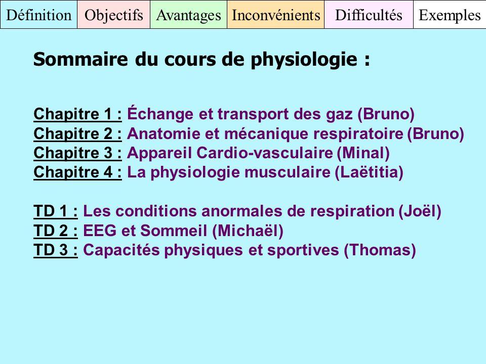 Sommaire du cours de physiologie :