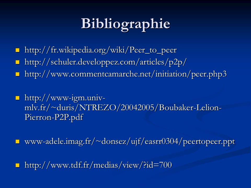 Bibliographie http://fr.wikipedia.org/wiki/Peer_to_peer