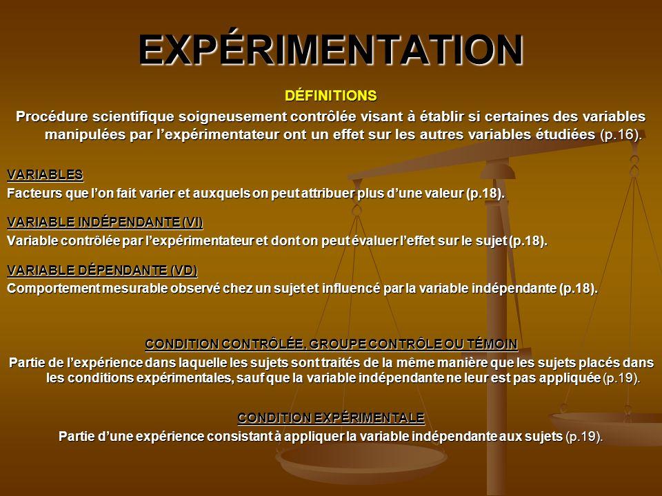 CONDITION CONTRÔLÉE, GROUPE CONTRÔLE OU TÉMOIN CONDITION EXPÉRIMENTALE