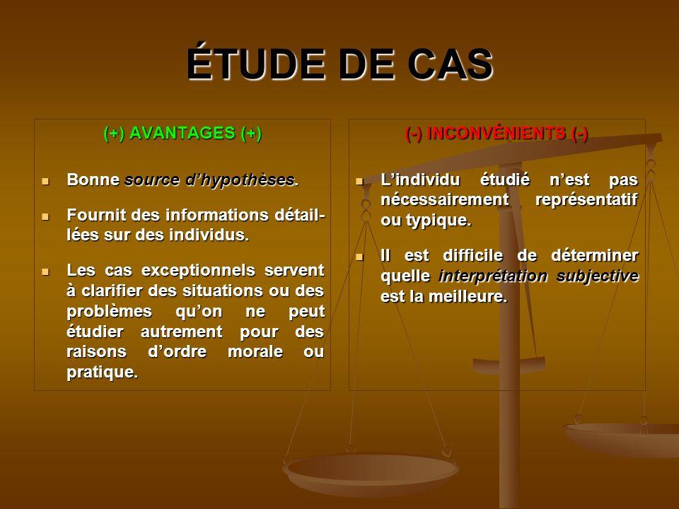 ÉTUDE DE CAS (+) AVANTAGES (+) Bonne source d'hypothèses.