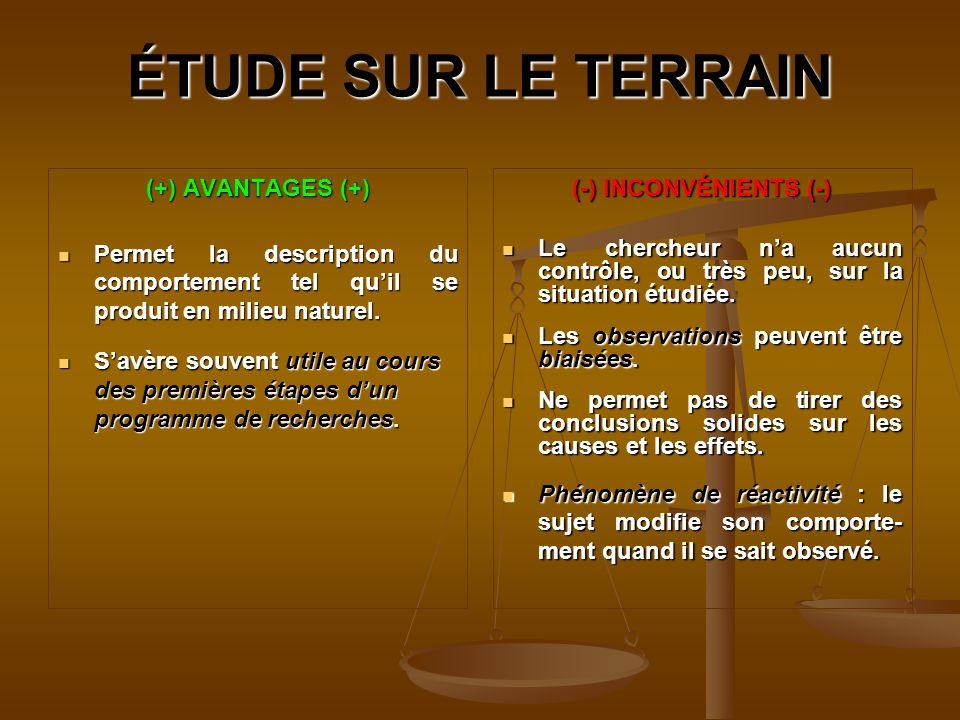 ÉTUDE SUR LE TERRAIN (+) AVANTAGES (+)
