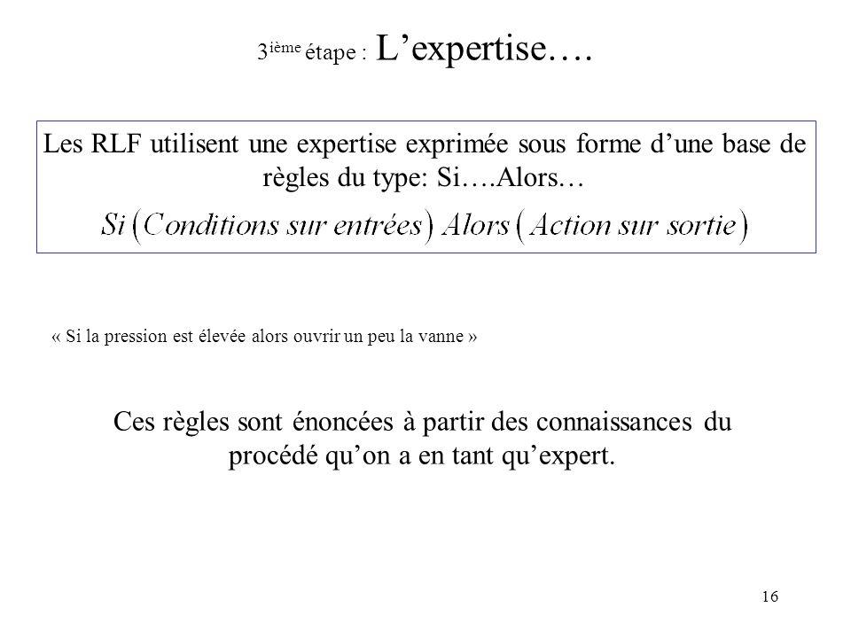 3ième étape : L'expertise….
