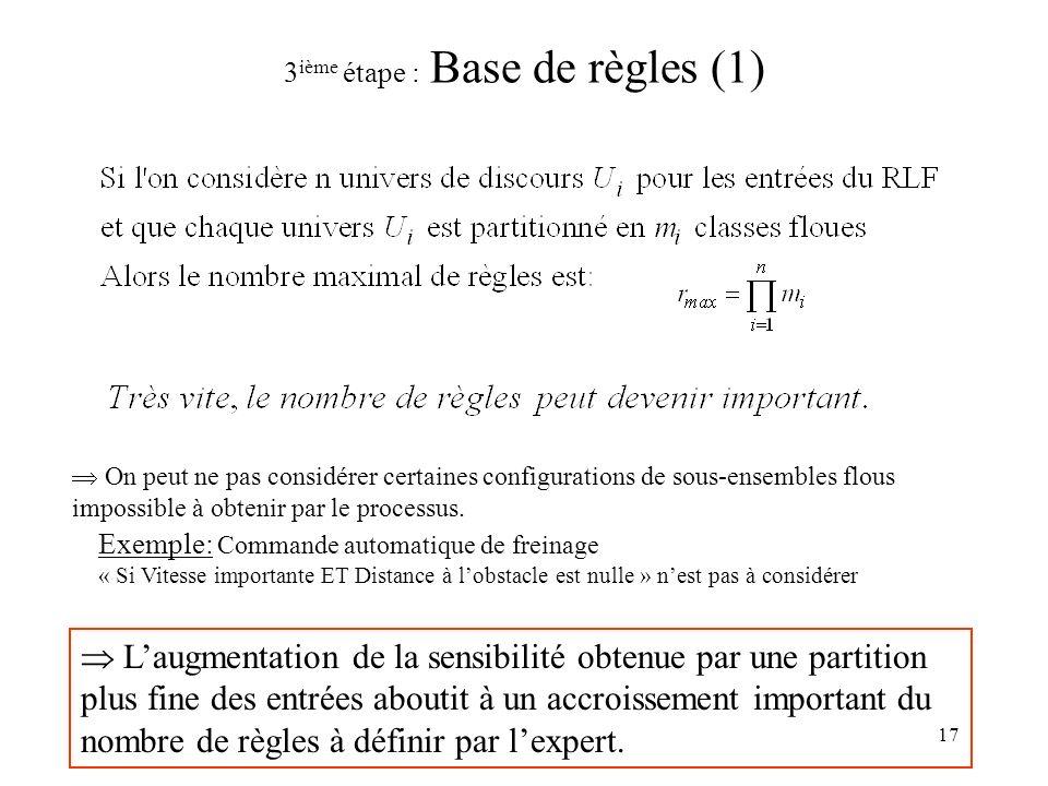 3ième étape : Base de règles (1)