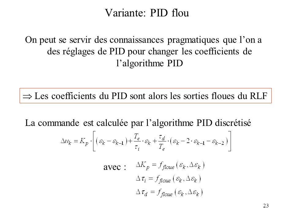 des réglages de PID pour changer les coefficients de l'algorithme PID
