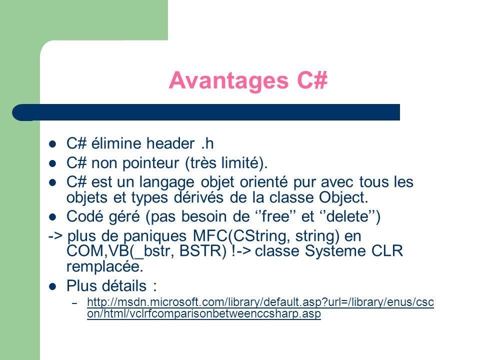Avantages C# C# élimine header .h C# non pointeur (très limité).