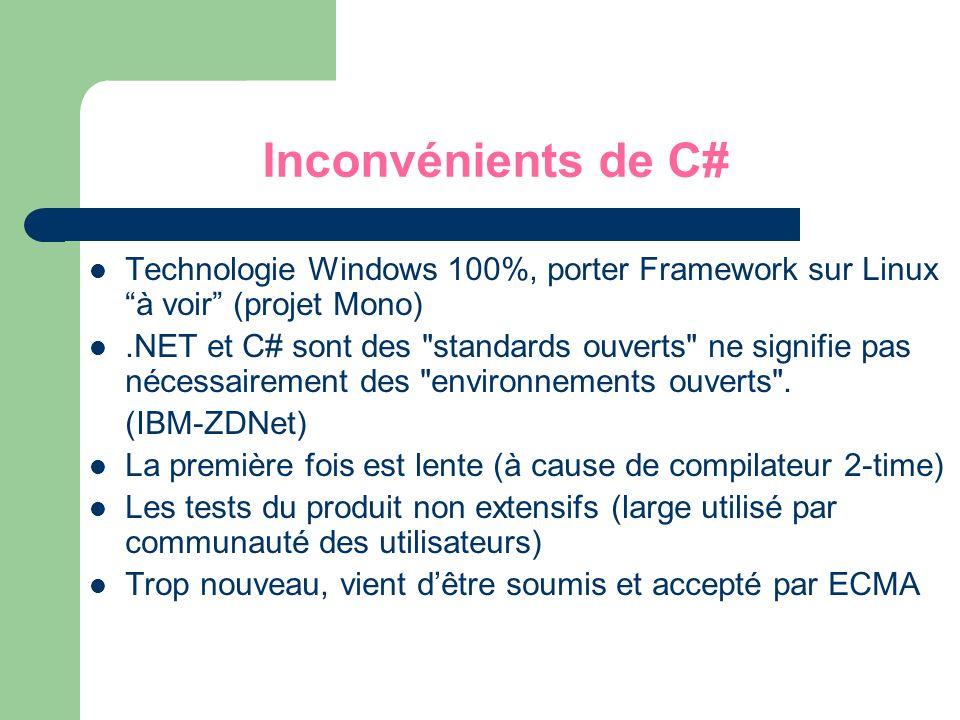 Inconvénients de C# Technologie Windows 100%, porter Framework sur Linux à voir (projet Mono)