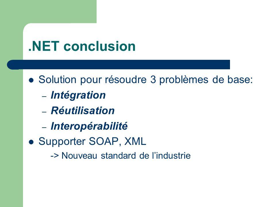 .NET conclusion Solution pour résoudre 3 problèmes de base: