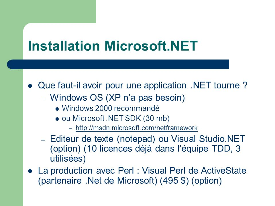 Installation Microsoft.NET